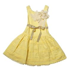Trish Scully Child - Trish Scully Child Dobby & Lace Yellow Dobby Pintuck Butterfly Dress - Designer Baby Clothes|LollipopMoon.com only $60.00 - Spring Preview 2013