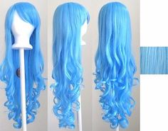 Wig Long Curly Cut w/ Long Bangs Deep Sky Blue - High quality synthetic cosplay wig. Wig Long Curly Cut w/ Long Bangs Black. Wig Long Curly Cut w/ Long Bangs White. Wig Long Curly Cut w/ Long Bangs Saddle Brown. Long Bangs, Long Curly Hair, Curly Hair Styles, Curly Bangs, Cheap Cosplay Wigs, Blue Wig, Anime Wigs, Black And Blonde, Synthetic Wigs