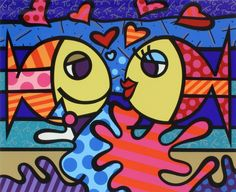 Deeply in Love - Romero Britto. DATE NIGHT Divide the painting into two parts - the male fish and the female fish on two separate panels, for couple's painting. He/she can each paint one panel. Art Pop, Paz Hippie, Tableau Design, Arte Country, Graffiti Painting, Art Plastique, Famous Artists, Graphic, Painting Inspiration