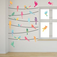 Pattern Birds on a Wire Wall Decals in a bedroom