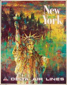 DP Vintage Posters - Delta Airlines Original Vintage Travel Poster [[New York]] Laycox