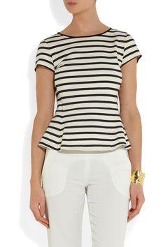 Theory Panna striped cotton-jersey peplum top NET-A-PORTER.COM