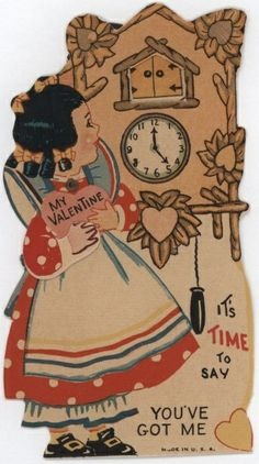 CLOCK~'time to say you've got me' valentine Valentines Tumblr, Valentine Images, My Funny Valentine, Valentines Greetings, Vintage Valentine Cards, Vintage Greeting Cards, Valentine Day Cards, Vintage Postcards, Valentine Stuff