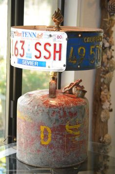 Upcycled Rat Rod Gas Can Lamp with License by CatkinsCreations