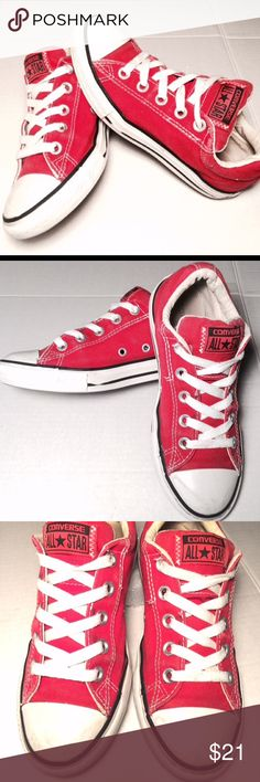 Red converse all stars in red, size 2 Youth converse in a beautiful cherry red and in EUC condition. Logo is displayed along the padded tongue, rubber outsole and canvas upper Converse Shoes Sneakers