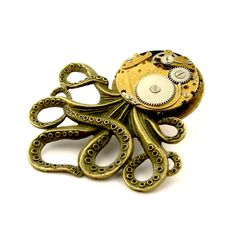 Items similar to Mechanical Octopus Brooch Pin - The Brainiacs Antique Bronze Tone Octopus Pin - Edwardian Steampunk Brooch on Etsy Octopus Jewelry, Steampunk Octopus, Bronze, Watercolor, Trending Outfits, Antiques, Random, Unique Jewelry, Handmade Gifts