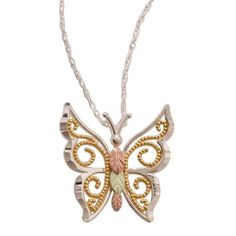 Fancy Sterling Butterfly Pendant & Necklace - Black Hills Gold