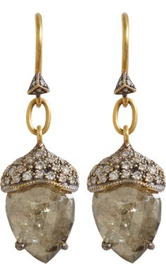 Cathy Waterman Rustic Diamond Acorn Earrings