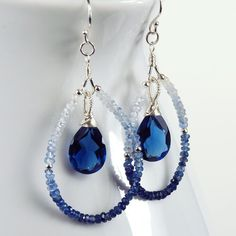 Blue and white ombre beaded hoop earrings with drop
