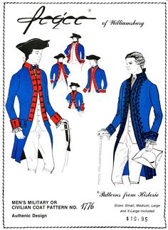 Revolutionary War 1776 Military & Civilian Coat Pattern - Pegee of Williamsburg Coat Patterns, Clothing Patterns, Sewing Patterns, Hamilton Costume, 18th Century Costume, Tailor Shop, Knitted Coat, Les Miserables, S Man
