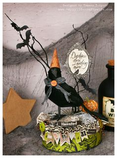 By using the HAPPY BIRTHDAY TO YOU KIT round box, and adding her special decorative touches and a cute black crow and a few twigs, Tamara created an awesome Halloween centerpiece!  Check out her website to see more!  Loving it!