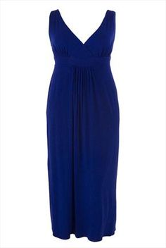 Maxi dress with crossover top and side ties -- love style and color.