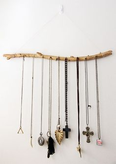 simple tree branch hanging jewellery display DIY #diy #home #tree #branch #stick #jewelry #jewellry #white #wall #hanging #hang #necklace #idea #style #decor #cross #leaf #gold #silver #charm
