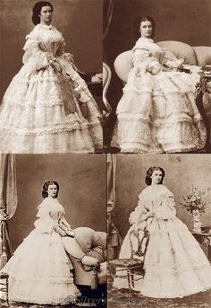 Sisi is wearing a white gown. Photo by Ludwig Angerer, 1860. Empress Elisabeth of Austria (Sisi, due to the movie also known now as Sissi, 1837-1898)