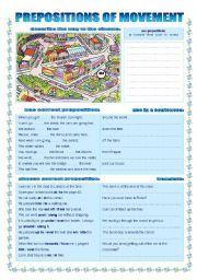English worksheet: PREPOSITIONS OF MOVEMENT