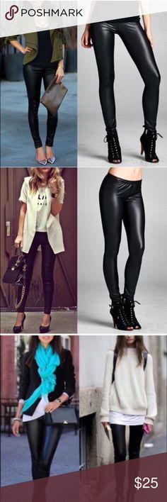 DEBORAH slick leggings - BLACK Stretchy faux leather leggings. Super sexy & flattering. NO TRADE, PRICE FIRM Bellanblue Pants Leggings