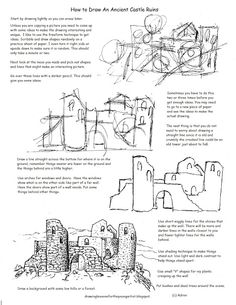 How to Draw Worksheets for The Young Artist: Printable How To Draw The Castle Ruins Worksheet. To see more visit my blog: http://drawinglessonsfortheyoungartist.blogspot.com/