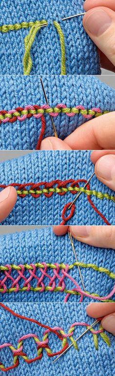 Вышивка на вязаном полотне.