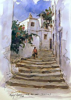 Sidi Bou Said - Painting Watercolor Painting Techniques, Watercolor Sketchbook, Watercolor Landscape Paintings, Landscape Drawings, Watercolor And Ink, Watercolor Illustration, Painting & Drawing, Art Drawings, Watercolor Architecture