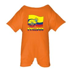 Desig  here features the Ecuadorian flag in yellow, blue and red. The coat of arms shows in, roughly, the center. Also in this design, a soccer ball or futbol, which includes the flag motif. Below it all, the word ECUADOR is found. It, too uses the flag motif and colors. Shows on Baby Romper.<br /><br /> Great for showing support for TEAM ECUADOR during international soccer or futbol matches and tournaments. $24.99 ink.universalflags.com