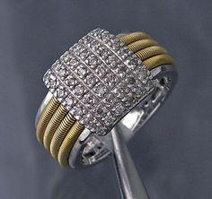 Diamond Coil Ring, 14k Yellow / White Gold