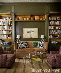 Living room # traditional # olive green