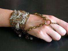 Gothic Slave Bracelet  Steampunk Dragon Fantasy Women Gothic Jewelry - 2 in 1 Bracelet