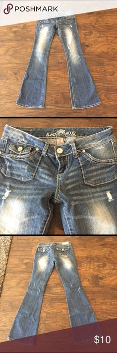 Almost Famous Jeans Distressed denim. Good condition. Flare. Almost Famous Jeans Flare & Wide Leg