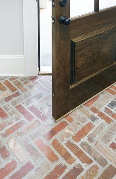 Herringbone brick paver flooring! Hubby wanted a rustic brick floor for the kitchen cooking area! I think we found it!