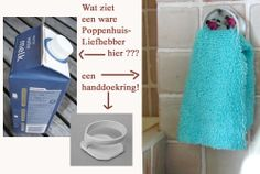 """Oh so clever..towel ring from that plastic thingy from juice/milk carton ~ This pin is great! I love trash-to-treasure ideas, and the use of the word """"thingy"""" made me laugh. That's exactly what I would have called it. ;)"""