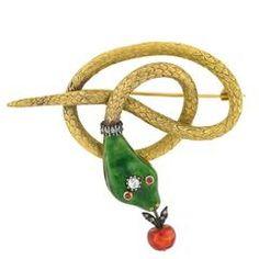 Victorian Revival Enamel Ruby Diamond Silver Gold Coiled Snake Pin
