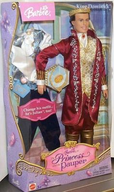 Barbie Barbie as The Princess and the Pauper Ken as King Dominick Box # C5774 Value and Details