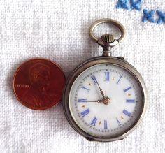 Antique Lapel Watch Chatelaine Watch Edwardian Enamel 800 Swiss German Case Not Running