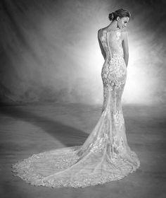 Nesta - Vestido de novia en tul y encaje y talle bajo