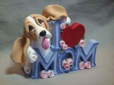 I Love Mom Basset Hound Dog clay sculpture by Laurie Valko, via Flickr