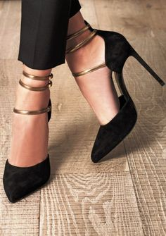 Black triple strap heel shoes fashion