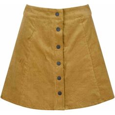 Mustard Cord Button Down Skirt ($34) ❤ liked on Polyvore featuring skirts, bottoms, yellow, yellow skirt, brown high waisted skirt, button up skirt, brown corduroy skirt and mustard a line skirt