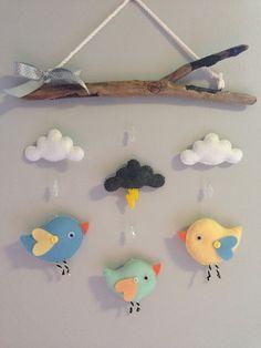 Esto se originó como una petición de encargo para emparejar la decoración de la boda... Pero estas aves poco sería genial en cualquier vivero. Se puede hacer sin la nube de trueno y en un esquema de color que mejores se adapte a su vivero! Dimensiones: Debido a la naturaleza de la madera, dimensiones de cada pieza varían (palos no todos son iguales!) ... Eso se dice que mayoría de las piezas de la gama entre 12-14 ancho y 12-14 de largo. 1st Birthday Balloons, Baby Boy Cribs, Tie Dye Crafts, Baby Room Diy, Felt Mobile, Felt Baby, Sewing Toys, Driftwood Mobile, Felt Toys