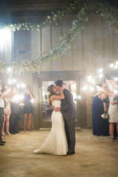 Sparkler formal departure at wedding reception. M. Elizabeth Events