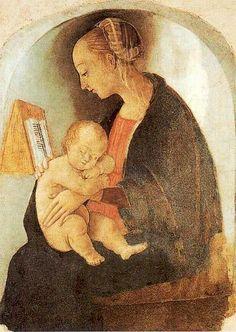 Raffaello Sanzio da Urbino (1483–1520) Reading Madonna and Child 1498  Fresco in Raphael's house