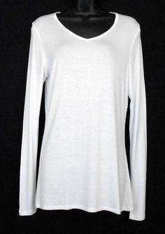 Sonoma Warmwear White Sz M Rayon Spandex V-Neck Long Sleeve Shirt  #SonomaLifeStyle