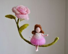 Room decor Wool mobile Needle felted : Girl with by MagicWool
