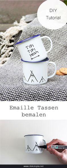 DIY Idee für's Herbstpicknick: Emaille Tasse bemalen