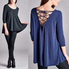 1 HR SALECALLIE lace up back top - NAVY/BLACK Loose fit, three-quarter length sleeves, round neck dress. Scoop V-back with lace up detail. NO TRADE, PRICE FIRM Bellanblue Tops