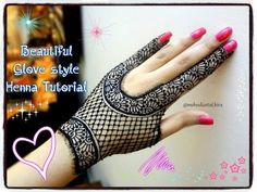 How to apply easy simple beautiful glove henna mehndi designs for hands tutorial eid,marraige 2017 - YouTube