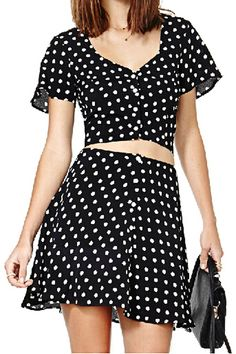 ROMWE Polka Dots Print V-neck Buttoned Black Shirt 14.97