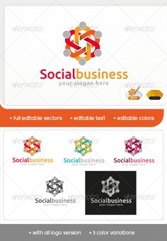 Social Business Logo minimalist and modern logo. Simple work and adjusted to suit your needs. Social Business, Business Logo, Modern Logo, Logo Templates, Color Change, Slogan, Cool Designs, Human Icon, Internet Logo