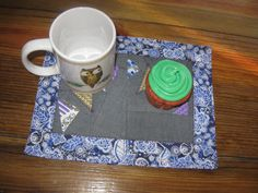 RachaelsCrazyScraps Mug Rug / Snack mat in purple, blue and gray. FREE SHIPPING IN USA