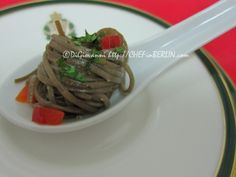 Jill's Grill - easy appetizer served in a porcelain spoon - Twisted Soba Noodle Spoons