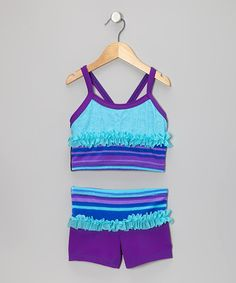 Take a look at this Blue Stripe Ruffle Tank & Shorts - Girls by Lexi-Luu Designs on #zulily today!